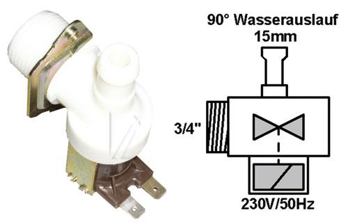 Mosógép alkatrész, ELEKTROMOS SZELEP 1-UTAS 90° 15mm Bauknecht,siemens, ew02578
