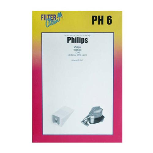 Porszívó alkatrész, papír Porzsák, PH6 4db, Philips Triathlon ew03256