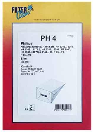 Porszívó alkatrész, papír Porzsák, PH4 6db, Philips Amsterdam ew03974
