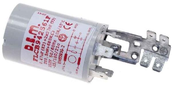 Mosógép alkatrész, zavarszűrő kondenzátor, 0,47uF, 250V, INDESIT ew04194